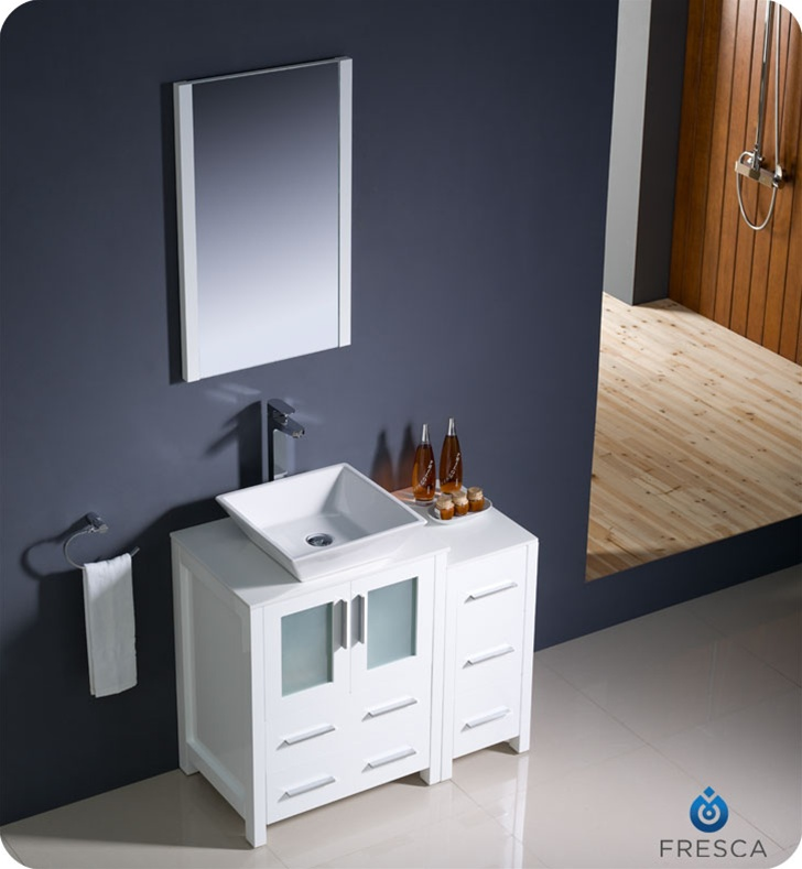 Fresca Torino  White Modern Bathroom Vanity w/ Side Cabinet & Vessel Sink with delivery to UK