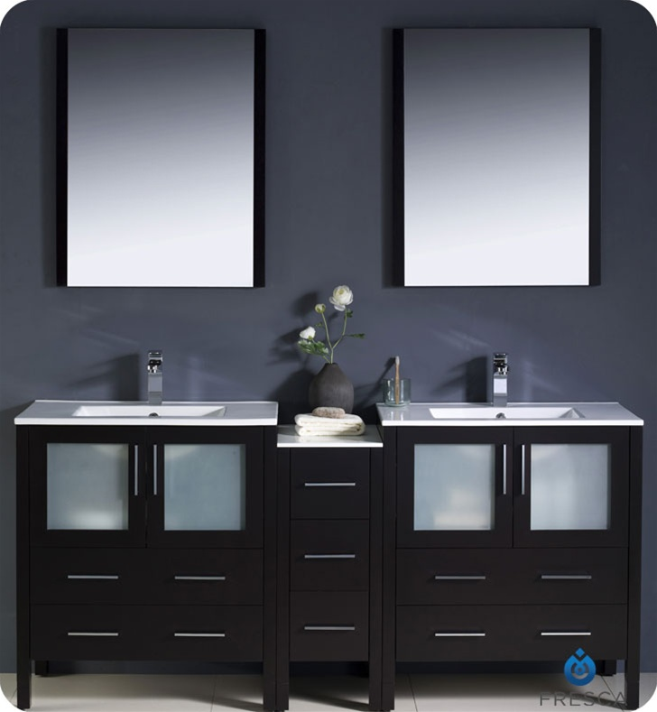 Fresca Torino  Espresso Modern Double Sink Bathroom Vanity w/ Side Cabinet & Integrated Sinks with delivery to UK