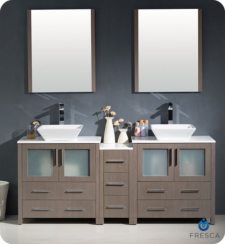 Fresca Torino  Gray Oak Modern Double Sink Bathroom Vanity with Side Cabinet and Vessel Sinks with delivery to UK
