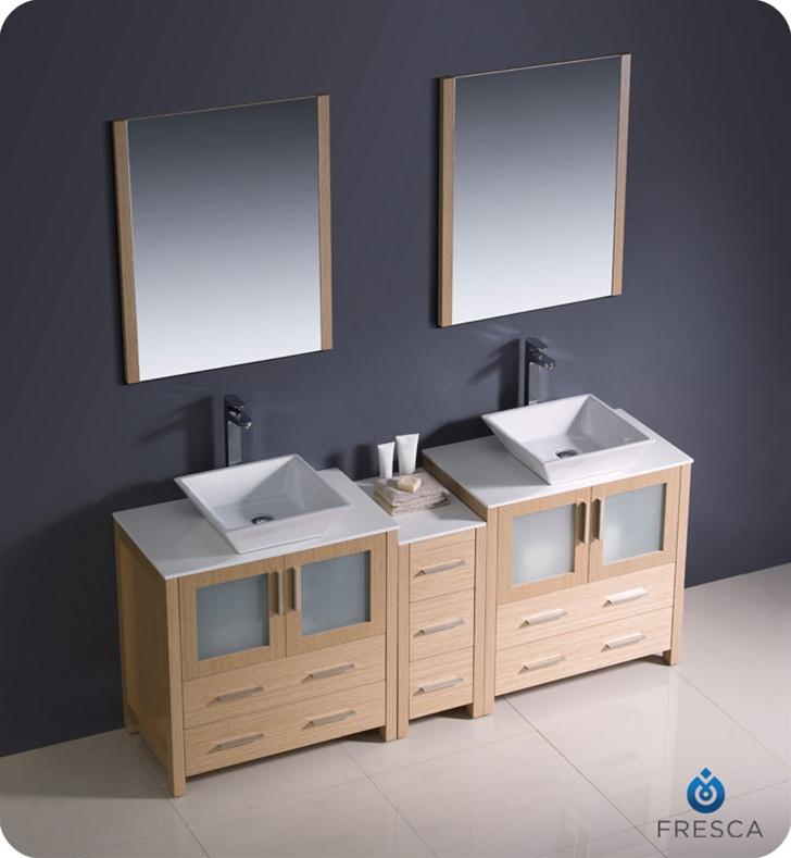 Fresca Torino  Light Oak Modern Double Sink Bathroom Vanity w/ Side Cabinet & Vessel Sinks with delivery to UK