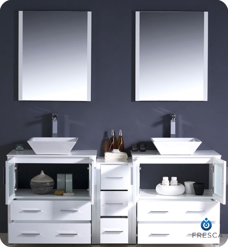 Fresca Torino  White Modern Double Sink Bathroom Vanity w/ Side Cabinet & Vessel Sinks with delivery to UK