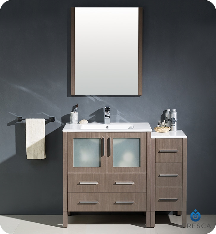 Fresca Torino  Gray Oak Modern Bathroom Vanity with Side Cabinet and Integrated Sink with delivery to UK