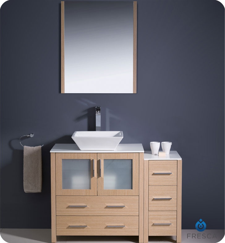 Fresca Torino  Light Oak Modern Bathroom Vanity w/ Side Cabinet & Vessel Sink with delivery to UK