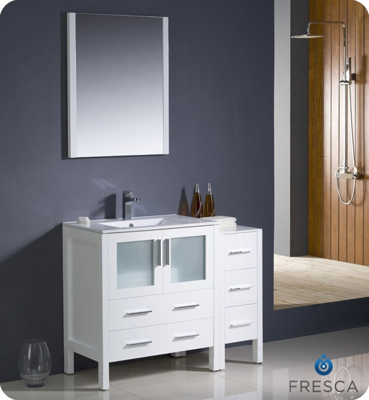Fresca Torino  White Modern Bathroom Vanity w/ Side Cabinet & Integrated Sink with delivery to UK