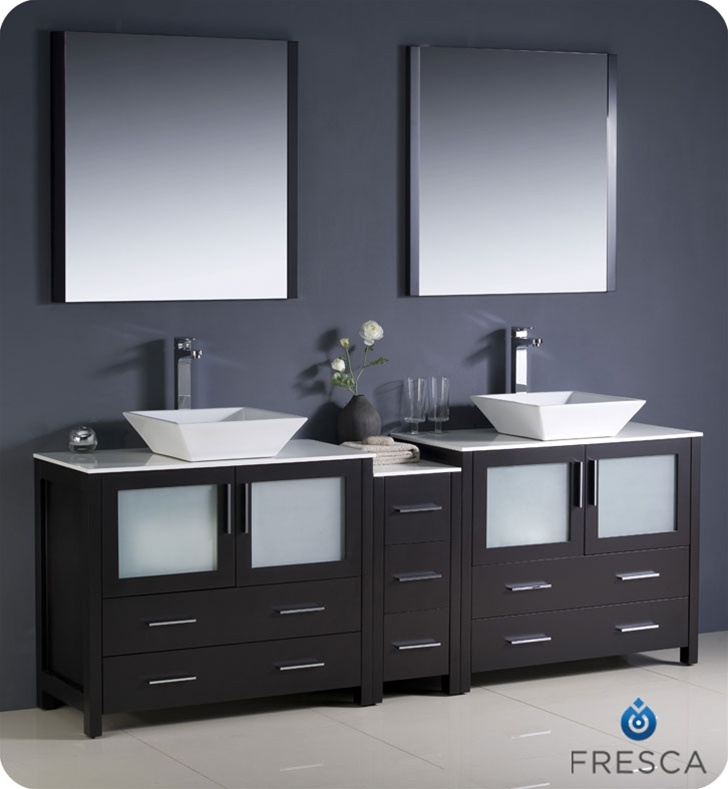 Fresca Torino  Espresso Modern Double Sink Bathroom Vanity w/ Side Cabinet & Vessel Sinks with delivery to UK