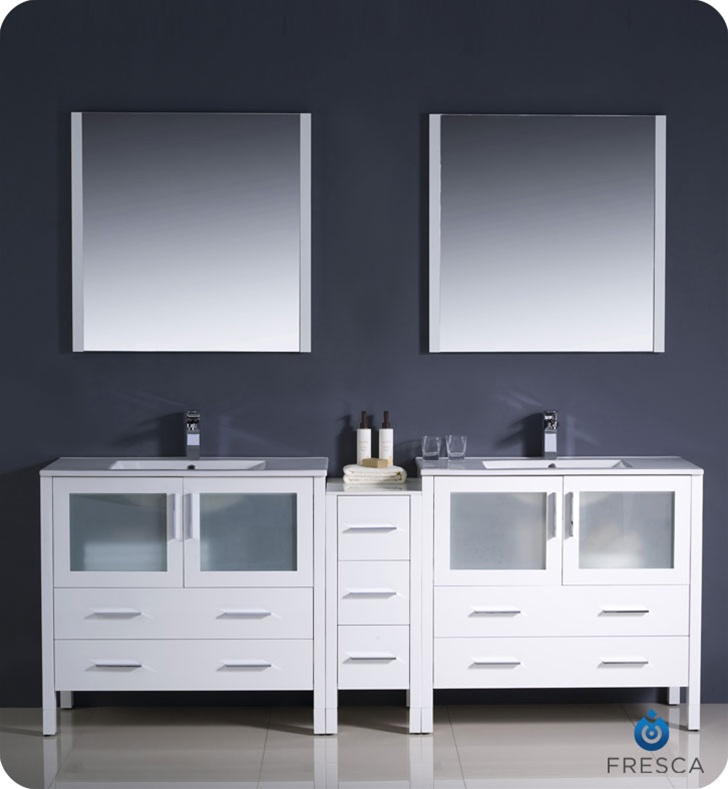 Fresca Torino  White Modern Double Sink Bathroom Vanity w/ Side Cabinet & Integrated Sinks with delivery to UK