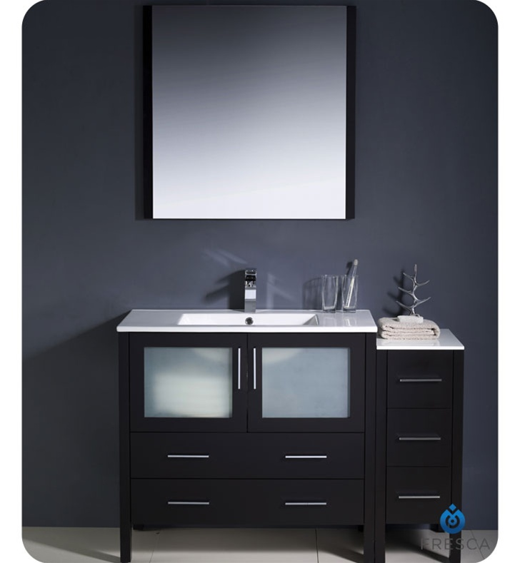 Fresca Torino  Espresso Modern Bathroom Vanity w/ Side Cabinet & Integrated Sinks with delivery to UK