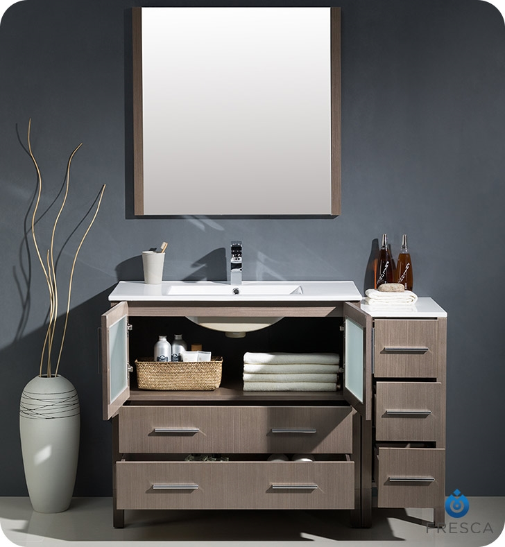 Fresca Torino  Gray Oak Bathroom Vanity with Side Cabinet and Integrated Sink with delivery to UK