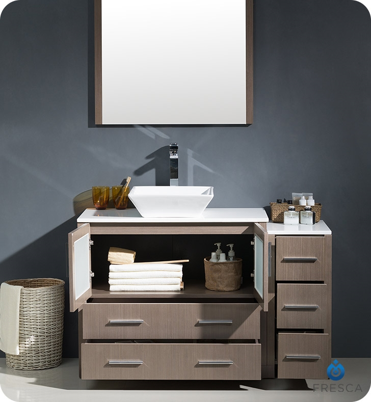 Fresca Torino  Gray Oak Modern Bathroom Vanity with Side Cabinet and Vessel Sink with delivery to UK
