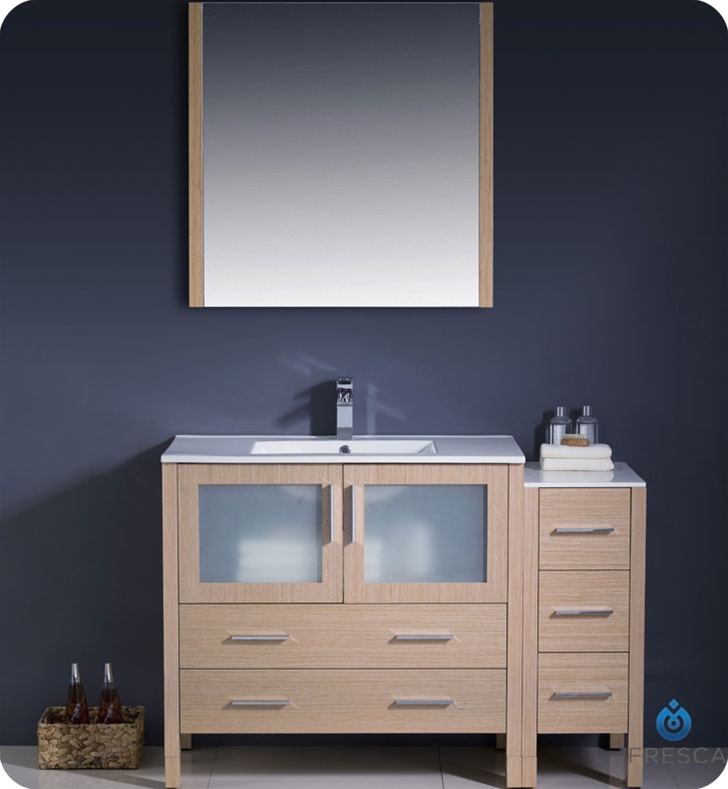 Fresca Torino  Light Oak Modern Bathroom Vanity w/ Side Cabinet & Integrated Sinks with delivery to UK