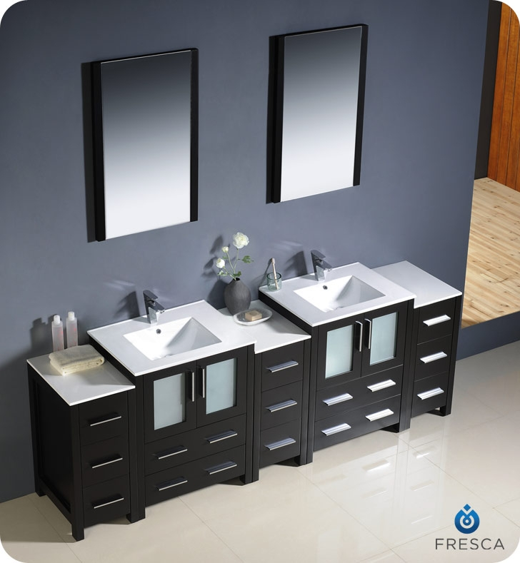 Fresca Torino  Espresso Modern Double Sink Bathroom Vanity w/  Side Cabinets & Integrated Sinks with delivery to UK