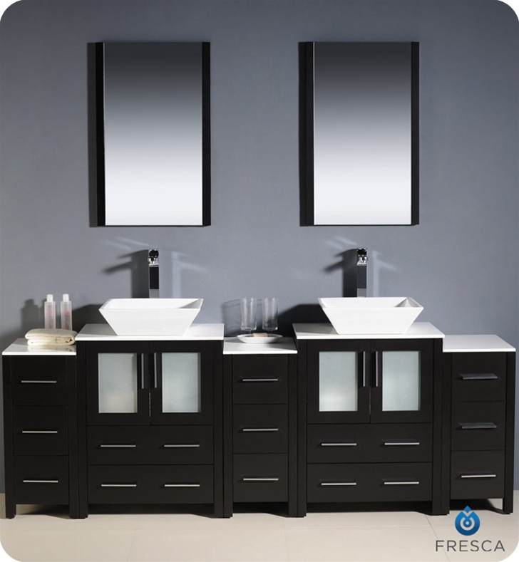 Fresca Torino  Espresso Modern Double Sink Bathroom Vanity w/  Side Cabinets & Vessel Sinks with delivery to UK