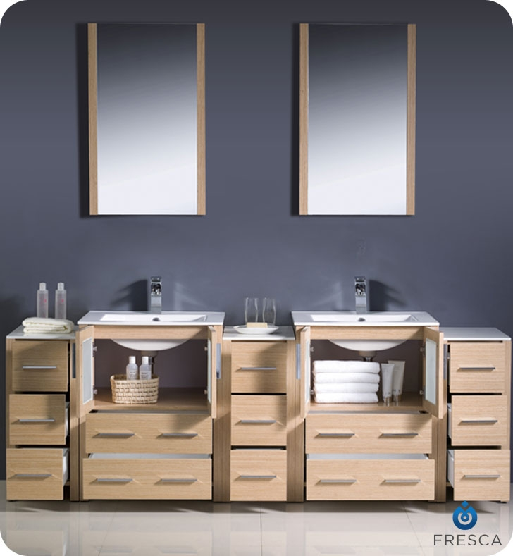 Fresca Torino  Light Oak Modern Double Sink Bathroom Vanity w/  Side Cabinets & Integrated Sink with delivery to UK