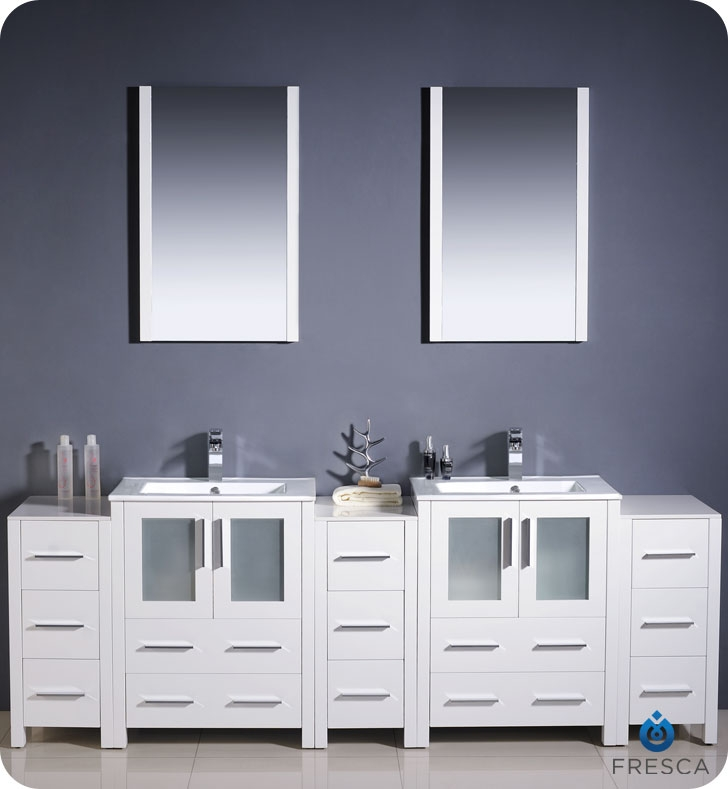 Fresca Torino  White Modern Double Sink Bathroom Vanity w/  Side Cabinets & Integrated Sinks with delivery to UK