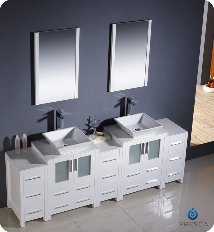 Fresca Torino  White Modern Double Sink Bathroom Vanity w/  Side Cabinets & Vessel Sinks with delivery to UK