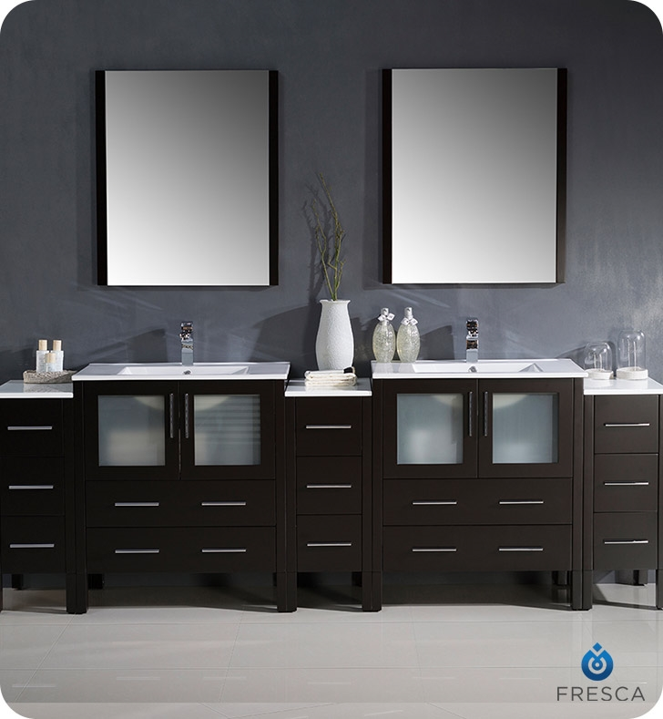 Fresca Torino  Espresso Modern Double Sink Bathroom Vanity with  Side Cabinets and Integrated S with delivery to UK