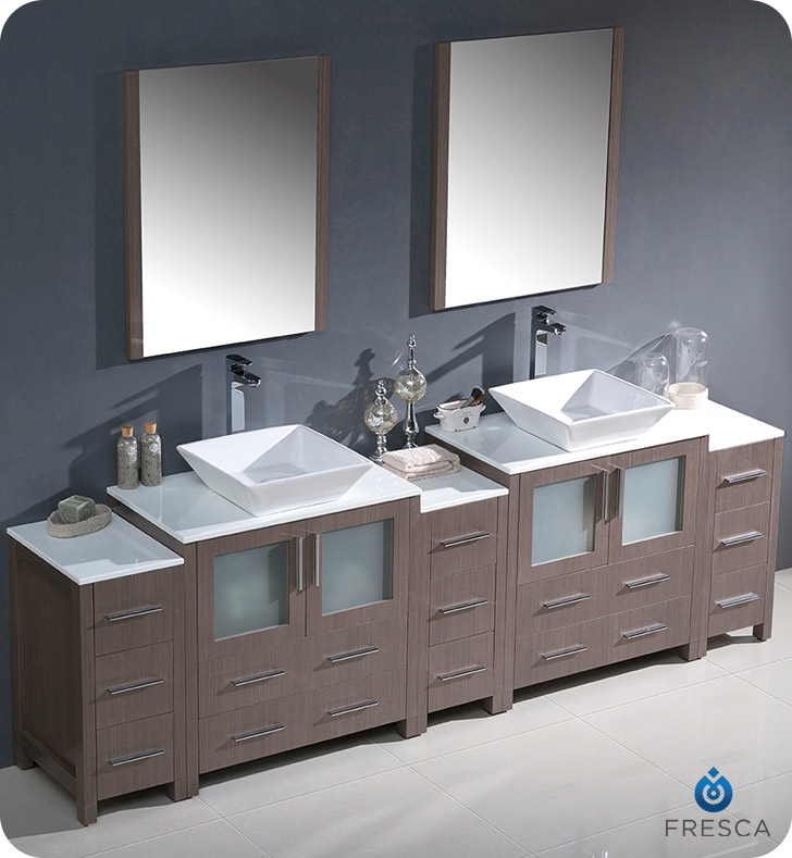 Fresca Torino  Gray Oak Modern Double Sink Bathroom Vanity with  Side Cabinets and Vessel Sinks with delivery to UK