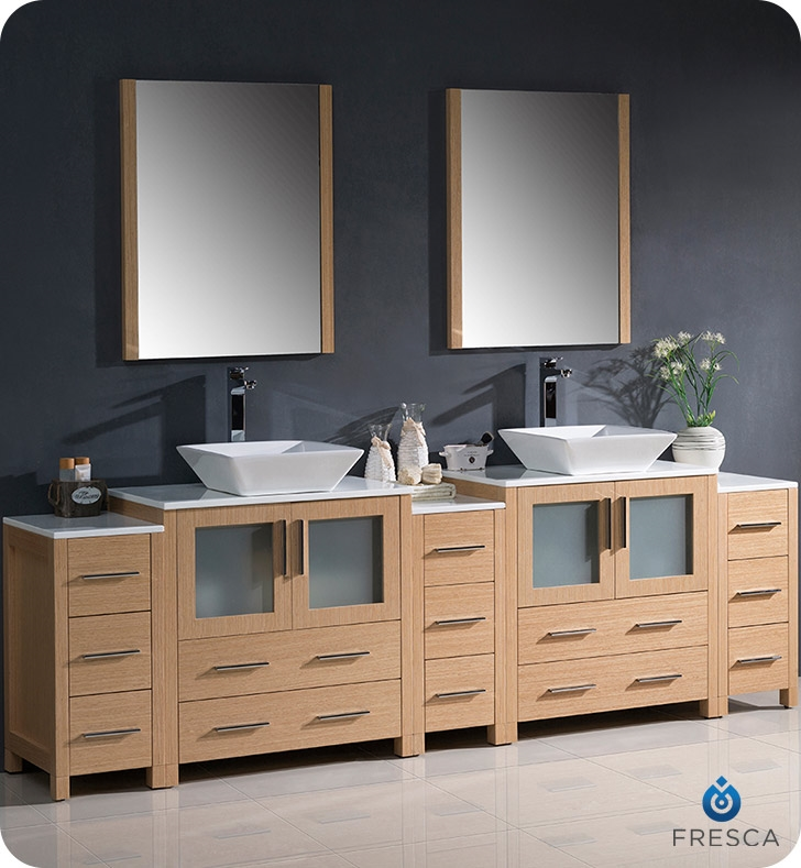 Fresca Torino  Light Oak Modern Double Sink Bathroom Vanity with  Side Cabinets and Vessel Sink with delivery to UK