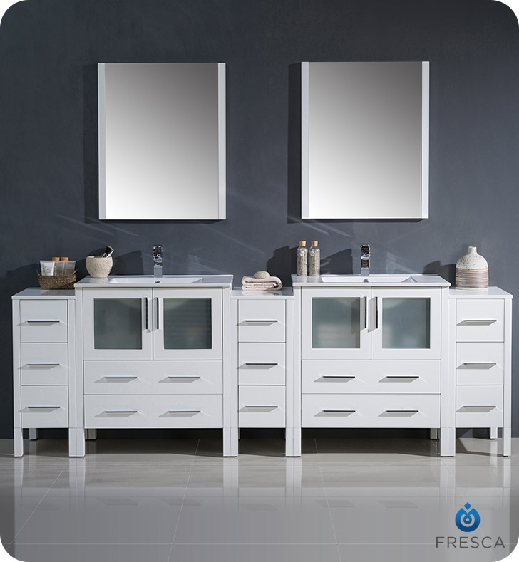 Fresca Torino  White Modern Double Sink Bathroom Vanity with  Side Cabinets and Integrated Sink with delivery to UK