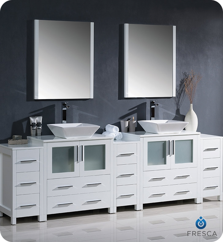 Fresca Torino  White Modern Double Sink Bathroom Vanity with  Side Cabinets and Vessel Sinks with delivery to UK