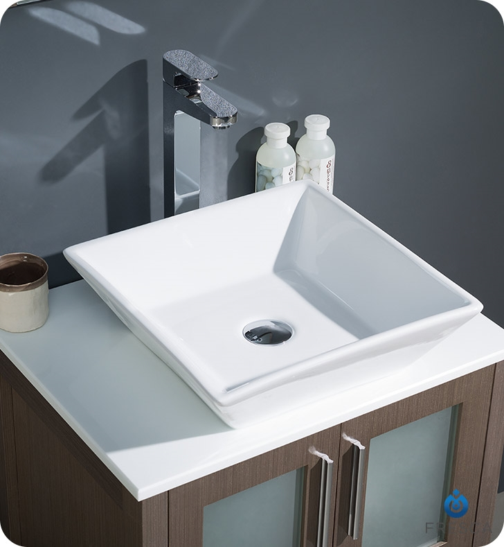 Fresca Torino  Gray Oak Bathroom Vanity with Vessel Sink with delivery to UK