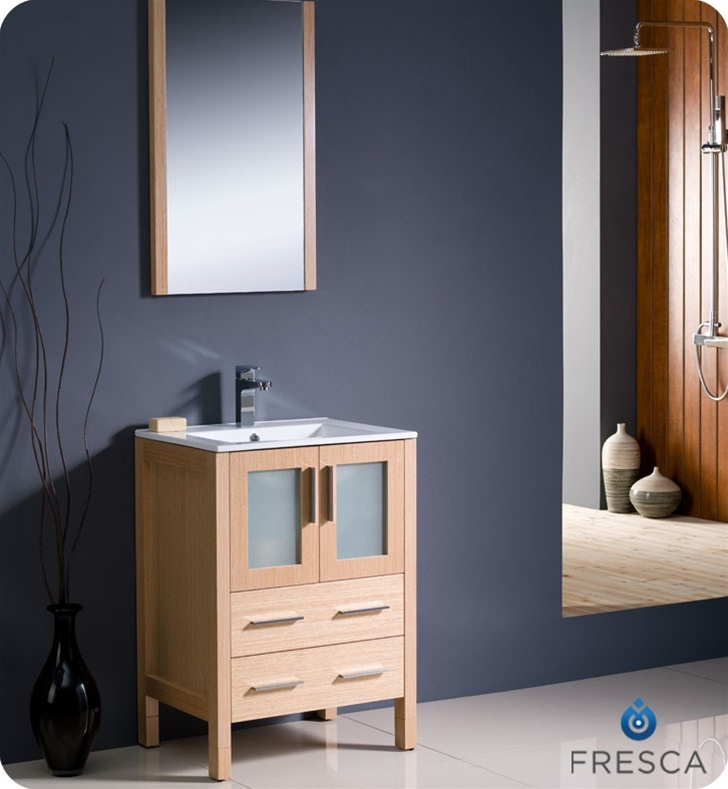 Fresca Torino  Light Oak Modern Bathroom Vanity w/ Integrated Sink with delivery to UK