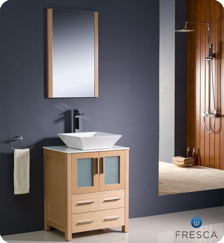 Fresca Torino  Light Oak Modern Bathroom Vanity w/ Vessel Sink with delivery to UK