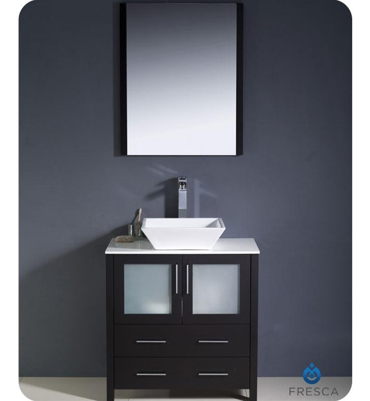 Fresca Torino  Espresso Modern Bathroom Vanity w/ Vessel Sink with delivery to UK