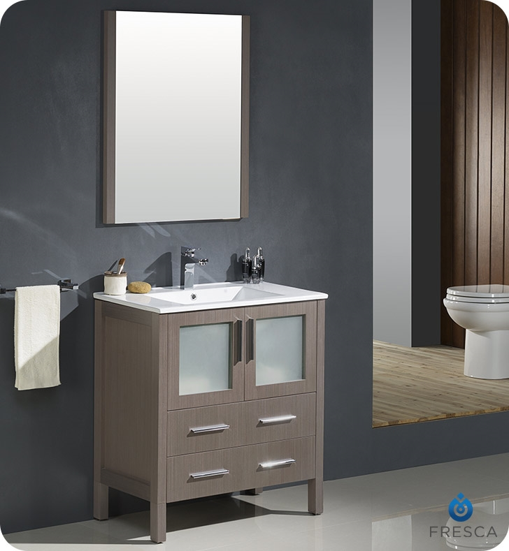Fresca Torino  Gray Oak Modern Bathroom Vanity with Integrated Sink with delivery to UK