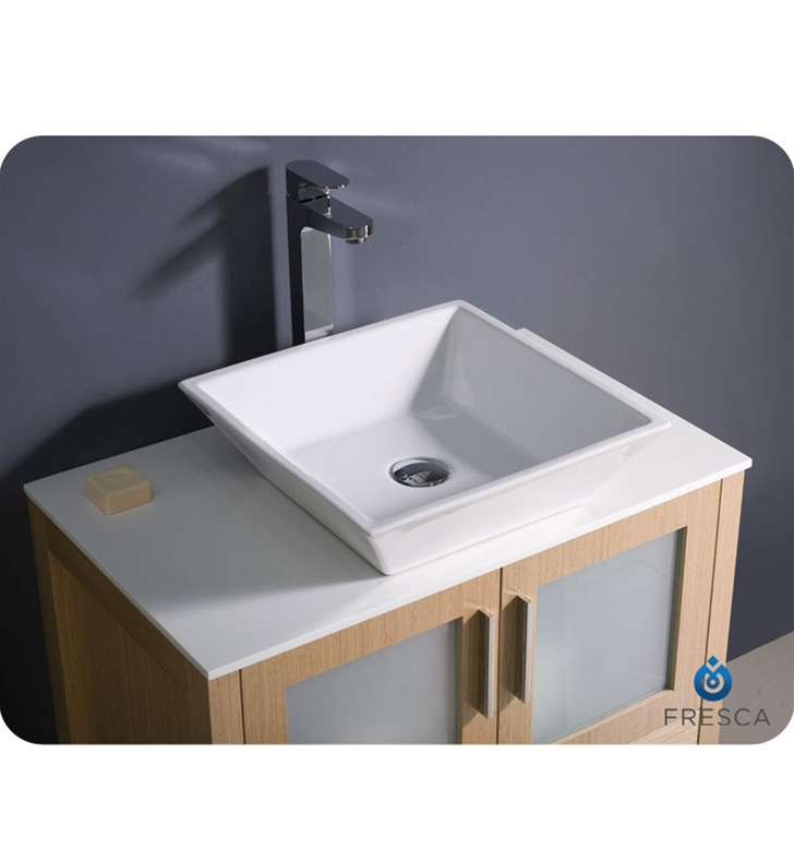 Fresca Torino  Light Oak Modern Bathroom Vanity w/ Vessel Sink with delivery to UK