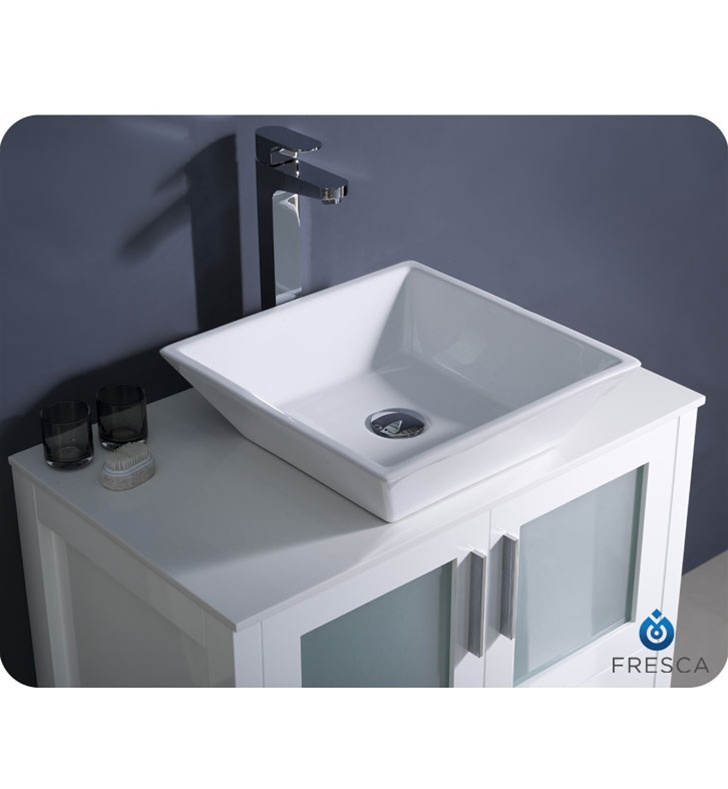 Fresca Torino  White Modern Bathroom Vanity w/ Vessel Sink with delivery to UK