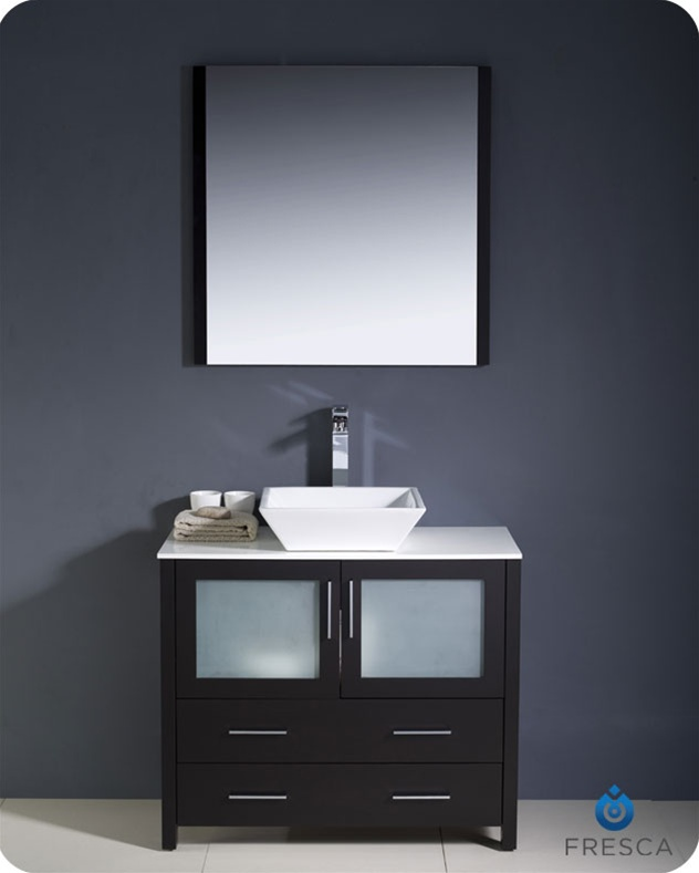 Fresca Torino  Espresso Modern Bathroom Vanity w/ Vessel Sink with delivery to UK