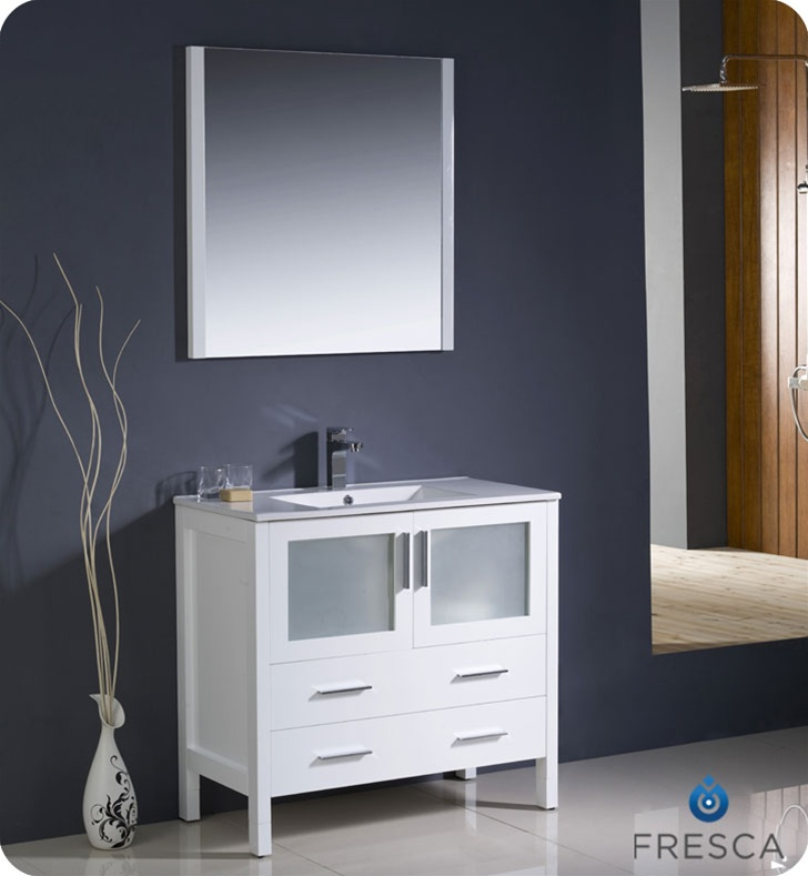 Fresca Torino  White Modern Bathroom Vanity w/ Integrated Sink with delivery to UK