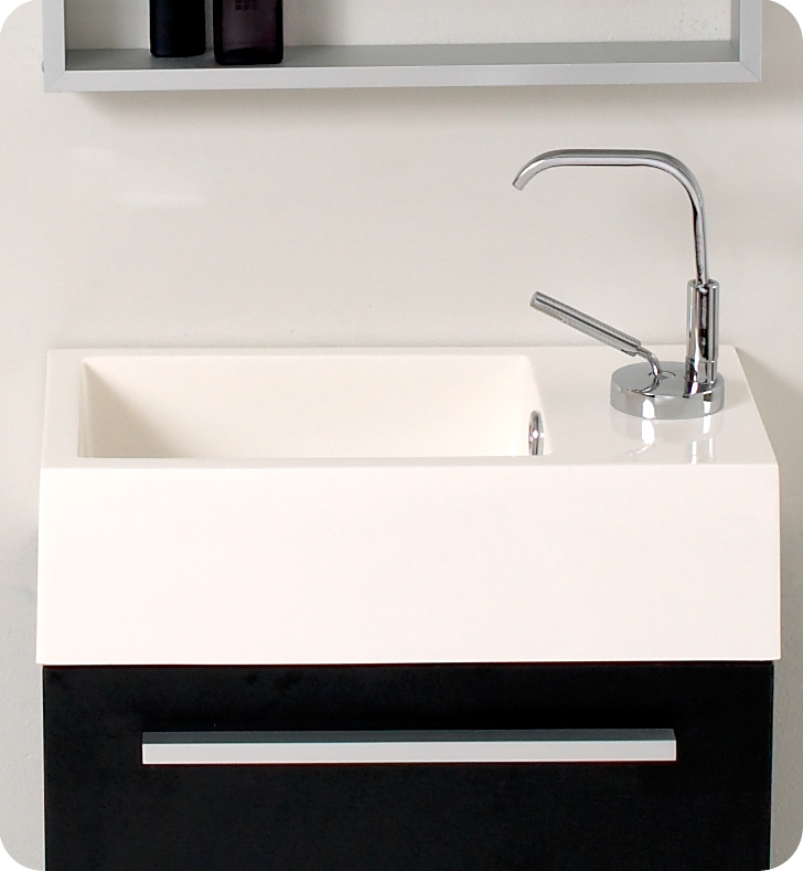 Fresca Pulito Small Black Modern Bathroom Vanity w/ Tall Mirror with delivery to UK