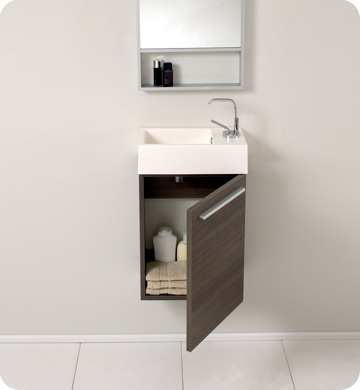 Fresca Pulito Small Gray Oak Modern Bathroom Vanity w/ Tall Mirror with delivery to UK