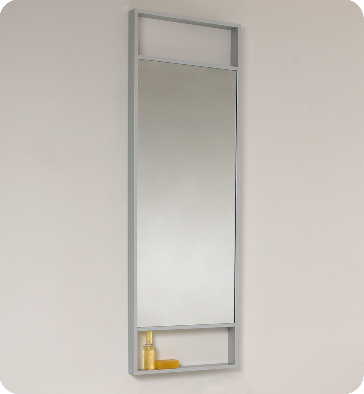 Fresca Pulito Small Teak Modern Bathroom Vanity w/ Tall Mirror with delivery to UK
