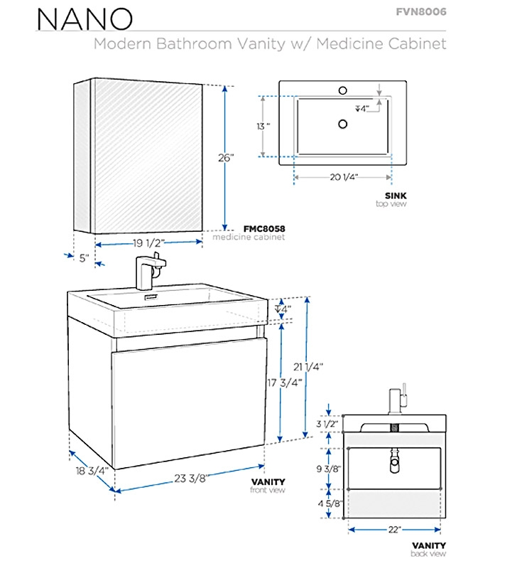 Fresca Nano Black Modern Bathroom Vanity w/ Medicine Cabinet with delivery to UK