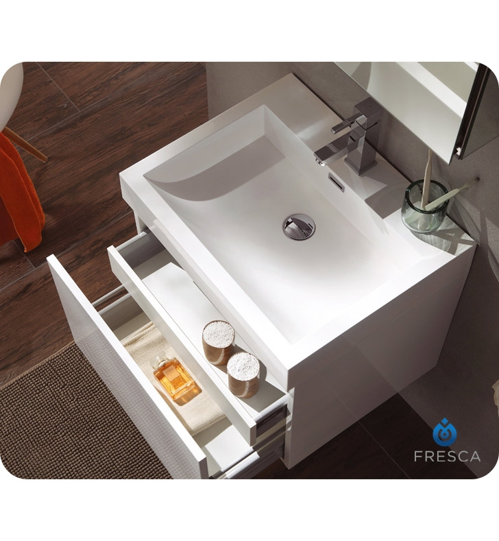 Fresca Nano White Modern Bathroom Vanity w/ Medicine Cabinet with delivery to UK