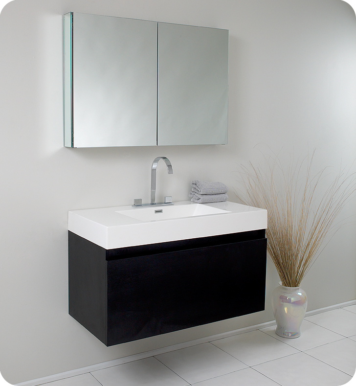 Fresca Mezzo Black Modern Bathroom Vanity w/ Medicine Cabinet with delivery to UK