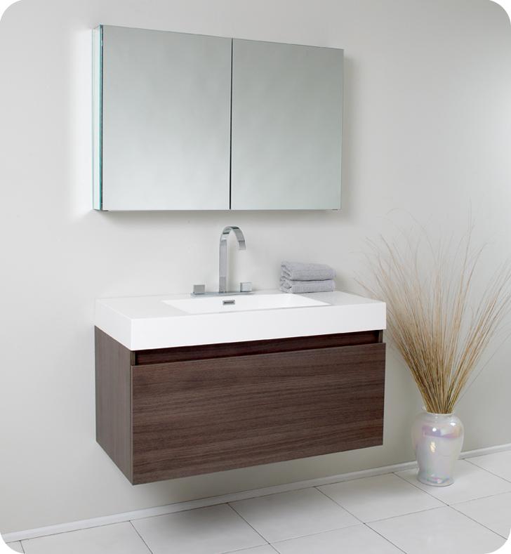 Fresca Mezzo Gray Oak Modern Bathroom Vanity W Medicine Cabinet With Delivery To UK
