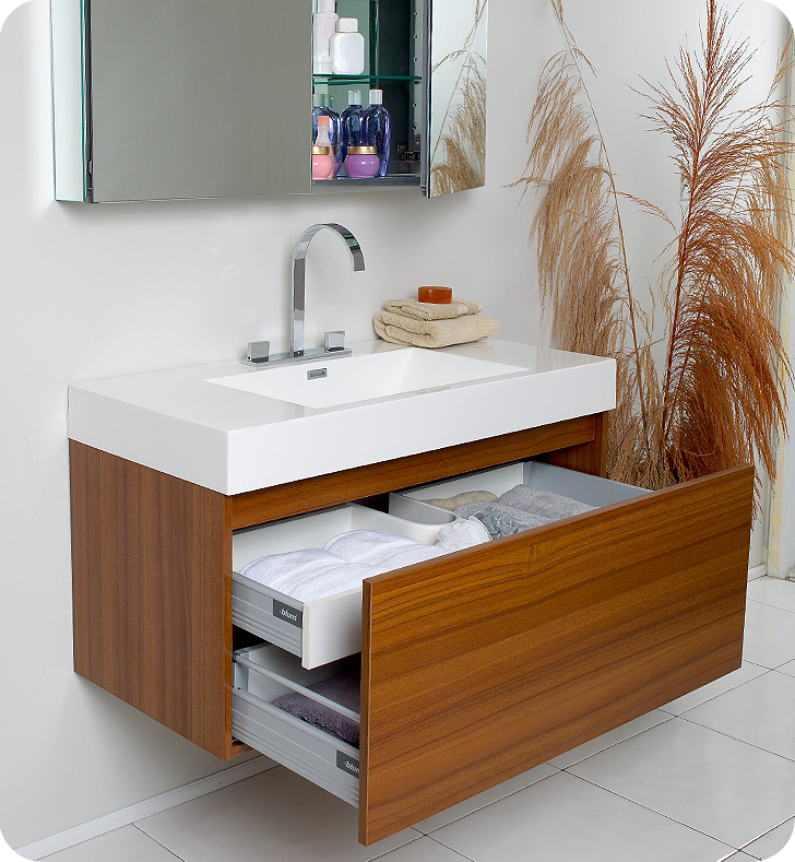 Fresca Mezzo Teak Modern Bathroom Vanity w/ Medicine Cabinet with delivery to UK