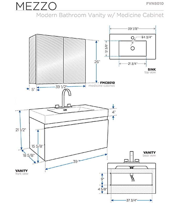 Fresca Mezzo White Modern Bathroom Vanity w/ Medicine Cabinet with delivery to UK