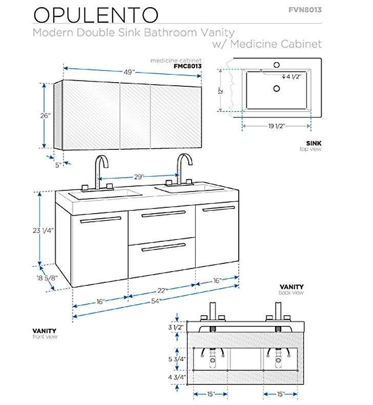 Fresca Opulento Black Modern Double Sink Bathroom Vanity w/ Medicine Cabinet with delivery to UK