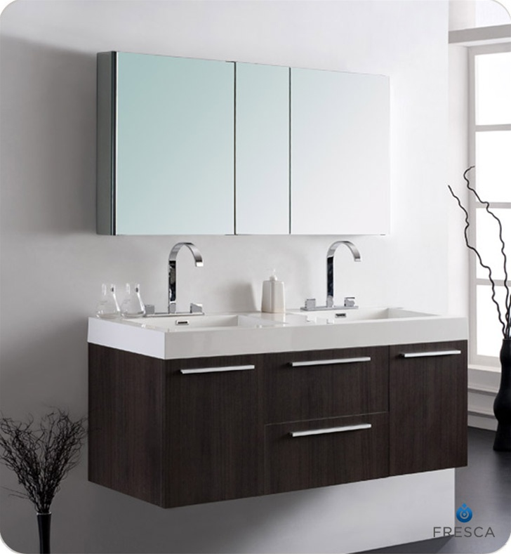 Fresca Opulento Gray Oak Modern Double Sink Bathroom Vanity w/ Medicine Cabinet with delivery to UK