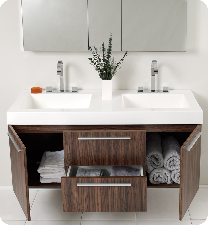 Fresca Opulento Walnut Modern Double Sink Bathroom Vanity w/ Medicine Cabinet with delivery to UK