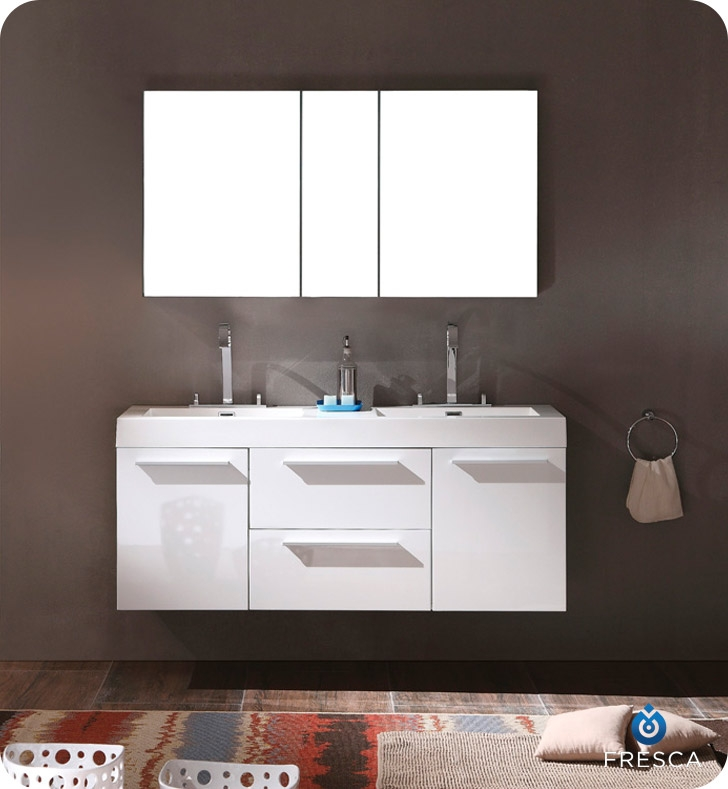 Fresca Opulento White Modern Double Sink Bathroom Vanity w/ Medicine Cabinet with delivery to UK