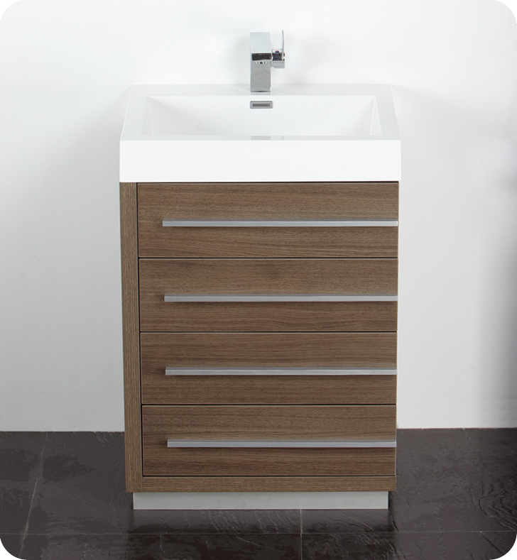 Fresca Livello  Gray Oak Modern Bathroom Vanity w/ Medicine Cabinet with delivery to UK