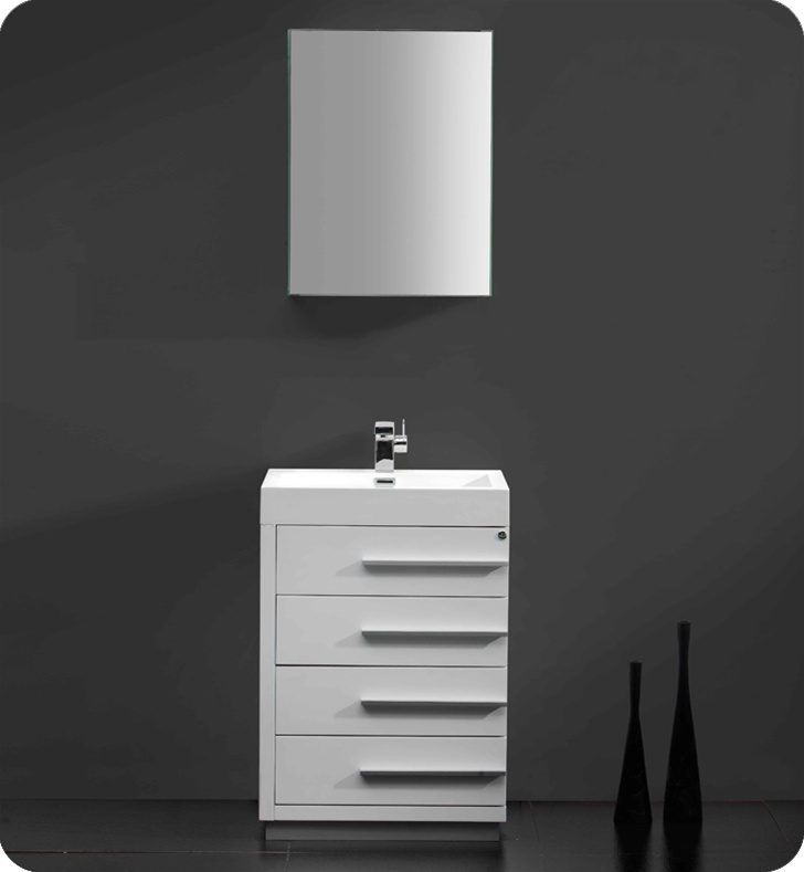 Fresca Livello  White Modern Bathroom Vanity w/ Medicine Cabinet with delivery to UK