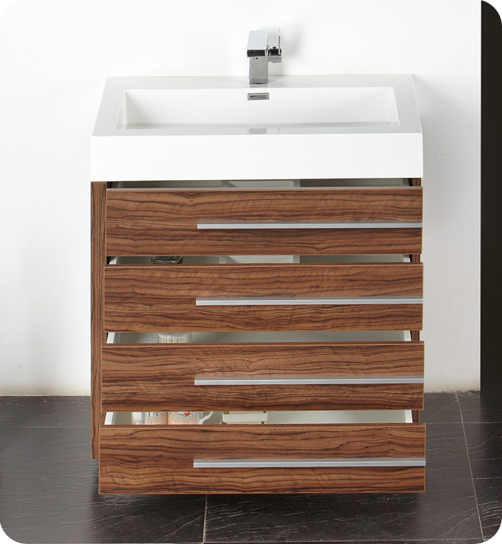 Fresca Livello  Walnut Modern Bathroom Vanity w/ Medicine Cabinet with delivery to UK