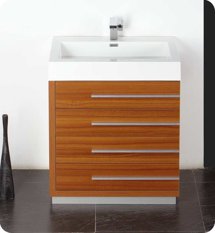 Fresca Livello  Teak Modern Bathroom Vanity w/ Medicine Cabinet with delivery to UK
